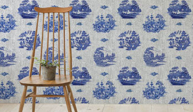 Willow Pattern Denim Wallpaper