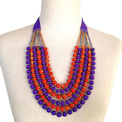 Vintage Silk Sari Bead Necklace - Purple & Orange