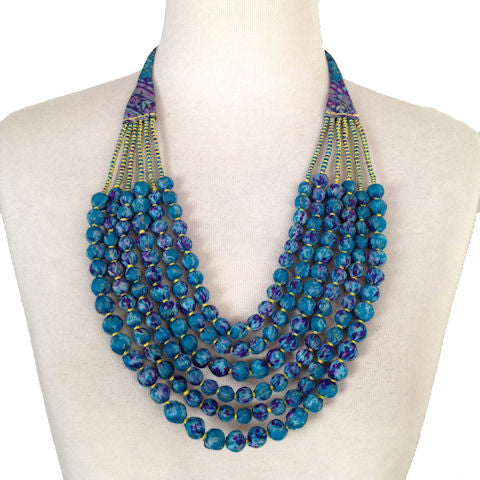 Vintage Silk Sari Bead Necklace - Teal