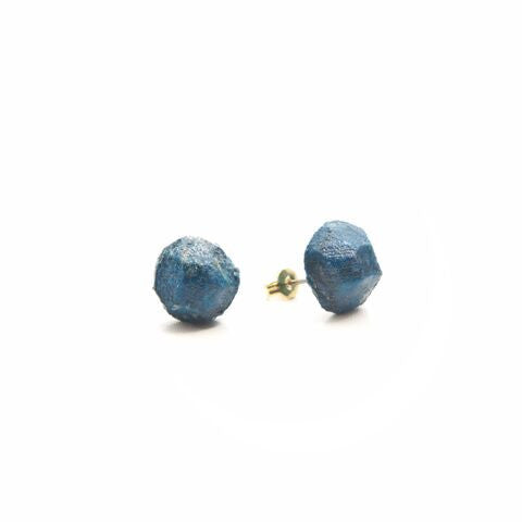 Recycled Paper Nugget Earrings - Blue