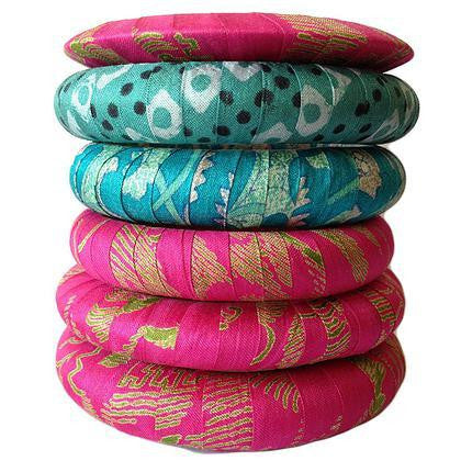 Vintage Silk Sari Bangle Set - Pink & Aqua