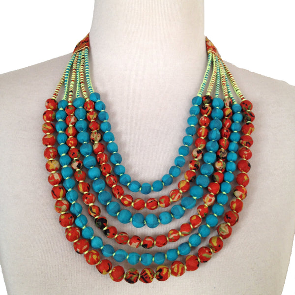 Vintage Silk Sari Bead Necklace - Orange & Aqua