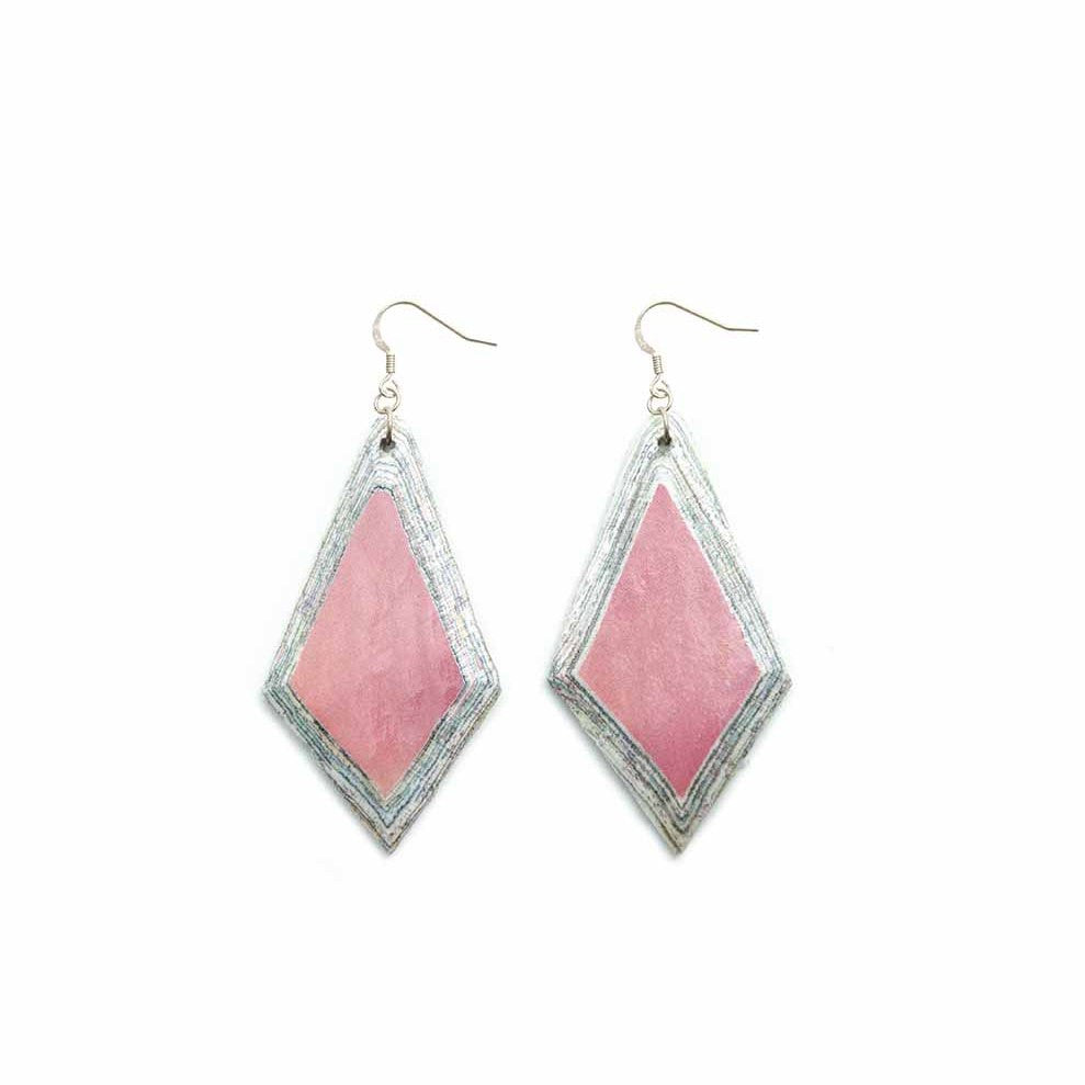 Recycled Paper Earrings -  Diamond Pink