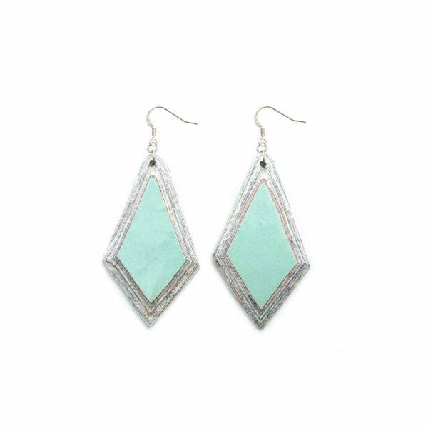 Recycled Paper Earrings -  Green Diamond