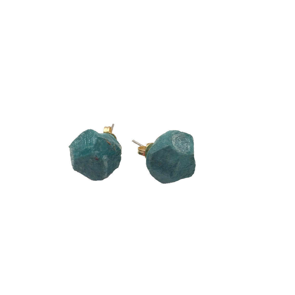 Recycled Paper Nugget Earrings - Green