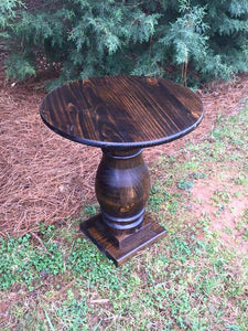 Hand Turned Pedestal End Table
