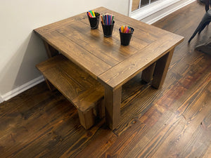 Children Table and 2 Bench Set