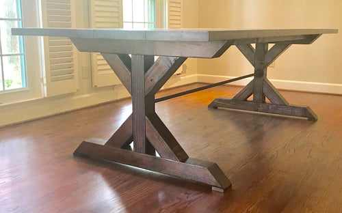 Metal Chunky Double X Dining Table