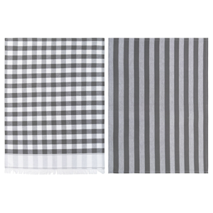 LINENS & MORE Buffalo Fringe Teatowels Set/2 Grey