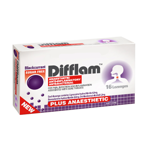 DIFFLAM Lozenges Plus Anaesthetic Blackcurrant 16s