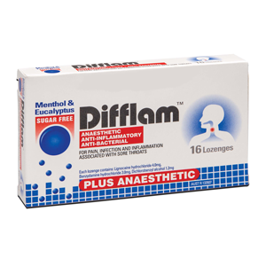 DIFFLAM Lozenges Plus Anaesthetic Eucalyptus & Menthol 16