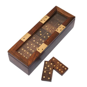 ONE WORLD Dominoes In Wood & Brass Box