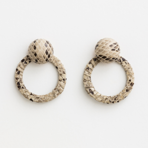 STELLA & GEMMA Earrings Button Hoop Snake Champagne