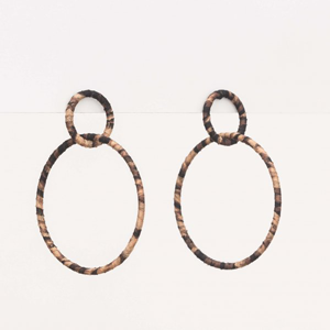STELLA & GEMMA Earrings Double Hoop Leopard