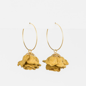 STELLA & GEMMA Earrings Petal Mustard Velvet