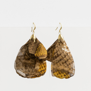 STELLA & GEMMA Earrings Organza Petal Snake Mustard