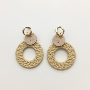 STELLA & GEMMA Earrings Weave Hoop W/Disc