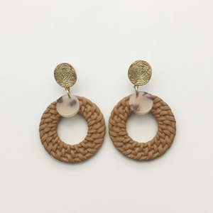 STELLA & GEMMA Earrings Weave Hoop W/Tortishell