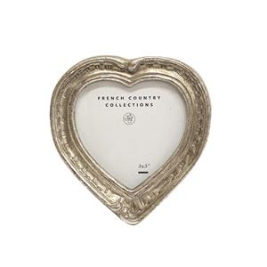 FRENCH COUNTRY Frame Antique Mini Silver Heart 2X3