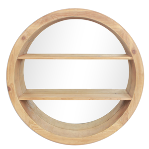 LINENS & MORE Wooden Round Mirror With Shelf