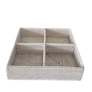 LE MONDE Rattan 4 Compartment Organizer