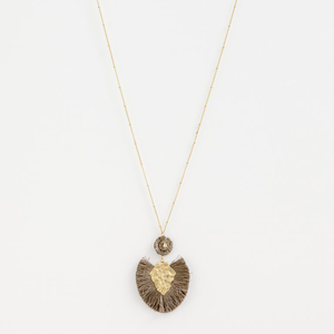 STELLA & GEMMA Necklace Grey Cotton With Brass
