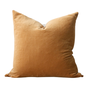 CC INTERIORS Raphael Gold Velvet Cushion/Linen Back 50X50cm