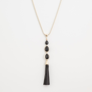 STELLA & GEMMA Necklace Black Howlite Beads Gold Tassel