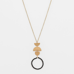 STELLA & GEMMA Necklace Black Bead Hoop With Gold