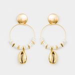 STELLA & GEMMA Earrings Shell Hoop W/Gold Shell