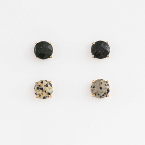 STELLA & GEMMA Earrings Gem Set/2 Black/Speckle
