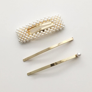 STELLA & GEMMA Hair Clips Set/3 Pearls/Gold