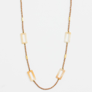 STELLA & GEMMA Necklace Beige Beads Rectangles