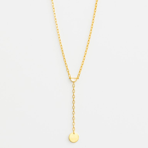 STELLA & GEMMA Necklace Horsebit Disc Gold Drop