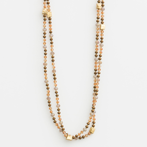 STELLA & GEMMA Necklace Natural Peach Beads With Cubes