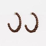 STELLA & GEMMA Earrings Wood Bead Hoop Brown