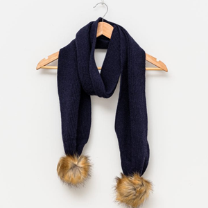 STELLA & GEMMA Scarf Navy With Natural Pompoms Loxie