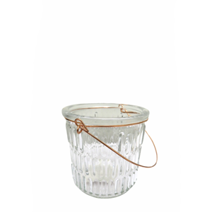 CC INTERIORS Ribbed Glass Hurricane Small