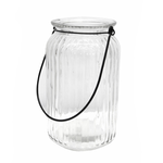 CC INTERIORS Ribbed Glass Hurricane Tall
