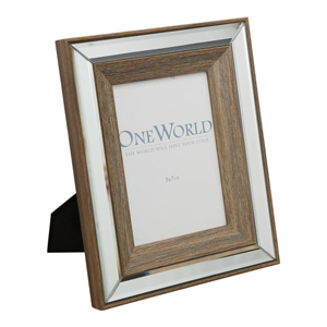 ONE WORLD Timber Mirrored Photo Frame 5X7
