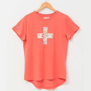 STELLA & GEMMA T-Shirt Melon With Floral Cross