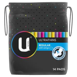 U BY KOTEX U/T Pads +Wings Reg 14pk
