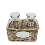 CC INTERIORS Willow Basket With 2 Bottles