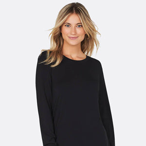 BOODY Long Sleeve Round Neck Top Black
