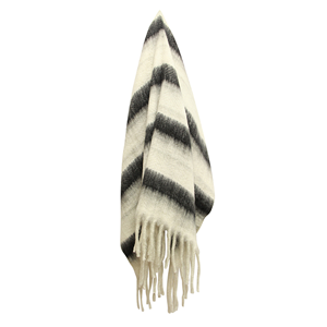 FRENCH COUNTRY Throw Zag Charcoal Stripe