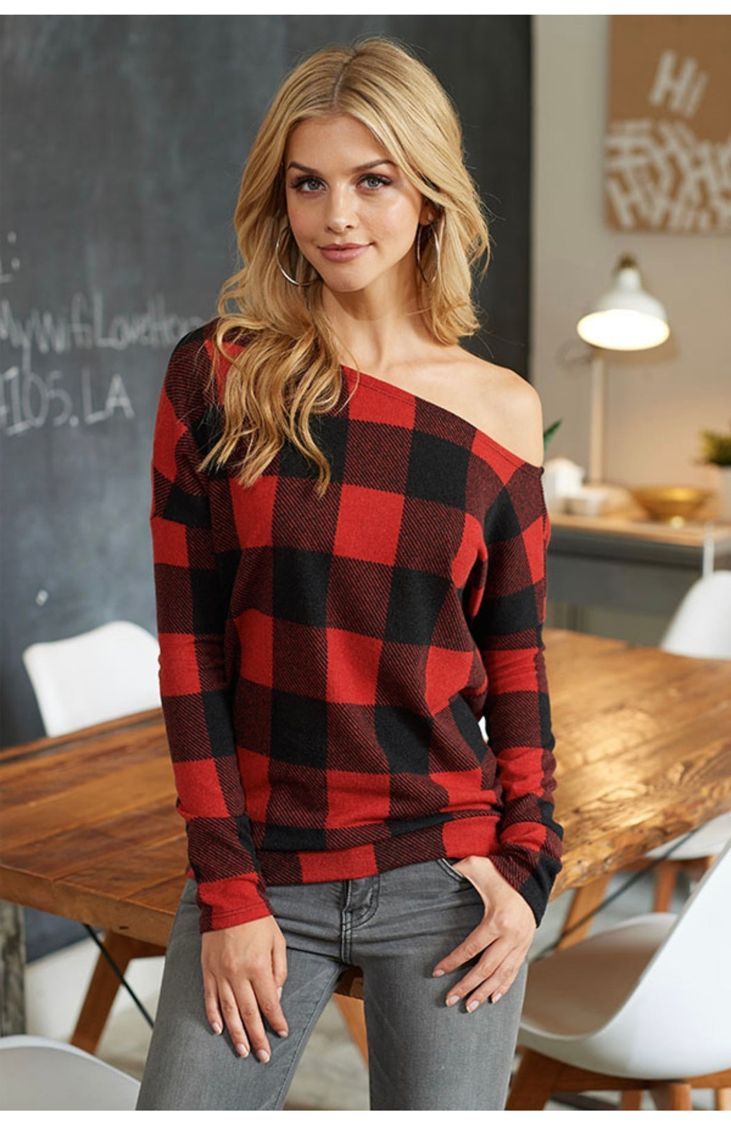 Loren Buffalo Plaid Off Shoulder Sweater