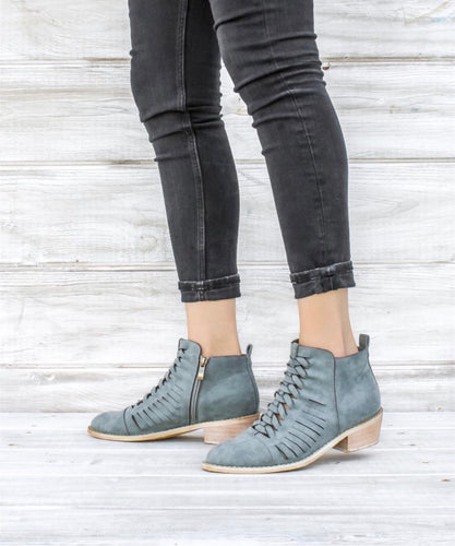 Sarah Blue/Grey Crosshatch Booties
