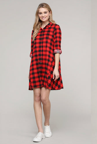 Swing With Me Plaid Dress