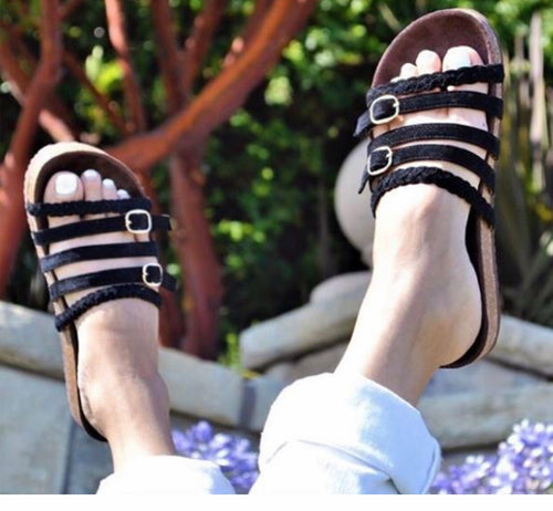 Strappy Braided Sandals