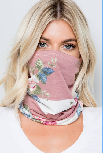 Pink Floral Stripe Face Scarf